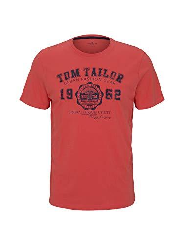Tom Tailor Logodruck Version 2 Camiseta con Logotipo Impreso, 11042 Plain Red, M para Hombre