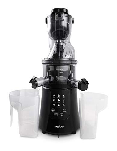 Rotel Slow Juicer Entsafter für kaltes Pressen mit Sorbet-Einsatz und Gemüse-Aufsatz 200W U4292CH (Schwarz)
