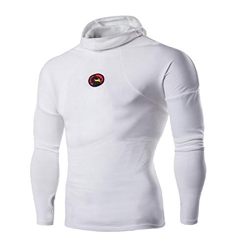 EverNight Männer Mit Kapuze Langärmliges T-Shirt, Art Und Weise Pullover Polohemd, Sport Fitness Im Freien Dünne Freizeit T Tops,Schwarz,XXXL
