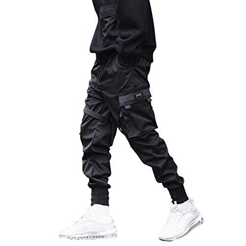 Litthing Herren Hose Cargo Jogging Hose Freizeithose Sportlich Hose Lang Casual Cargohose Pants mit Tasche,elastischer Bund mit Kordelzug, Größen S - 4XL (Schwarz, L)