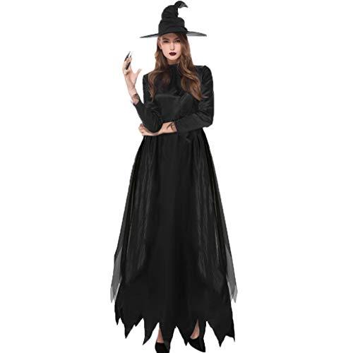 Zylione Kleider Damen Maxi Kleid Party Kleid Schwarz 2019 Halloween Kostüm Langarm Cosplay Kleider Unregelmäßiger Saum 2tlg Halloween Kleider mit Hut