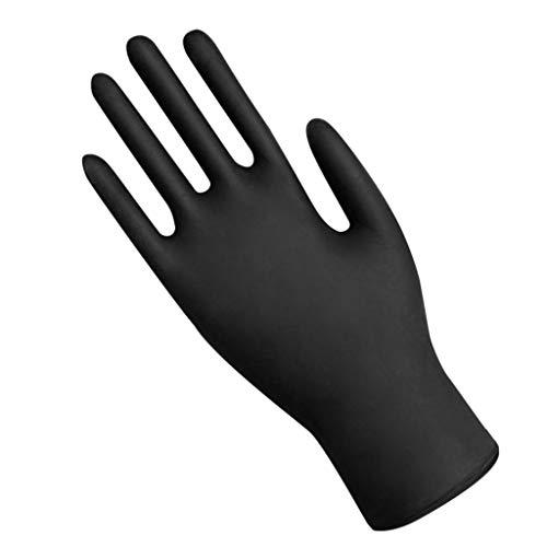 Guantes impermeables industriales desechables de nitrilo negro Lenfesh, sin textura, sin polvo, no estériles, grandes, guantes ligeros