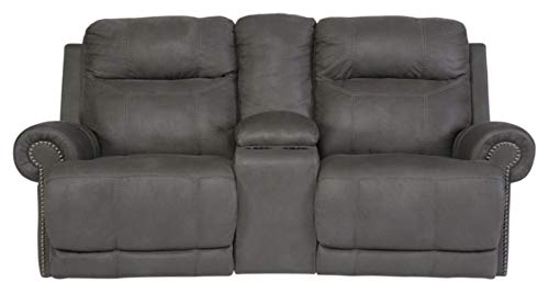 Signature Design by Ashley Austere  Double Reclining Loveseat with Console Gray