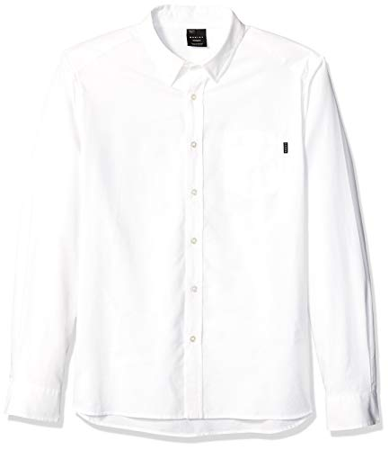 Oakley Men's Long Sleeve Button Down Oxford Shirt, White, M