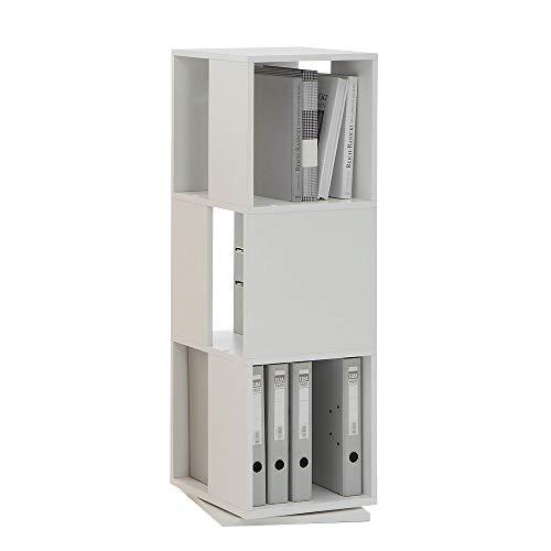 FMD furniture 291-001E, drehbares Regal, in Ausführung Weiß, Maße ca. 34 x 108 x 34 cm (BHT), Melaminharz beschichtete Spanplatte
