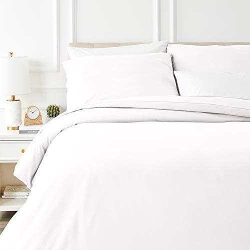 Amazon Basics - Bettwäsche-Set, Fein-Biber, 155 x 220 cm, weiß