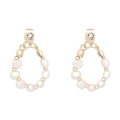 DDyna Coreano S925 Aguja de Plata Retro Pendientes de Perlas de Agua Dulce Temperamento Pendientes Colgantes de Estilo Barroco para Mujer - Oro