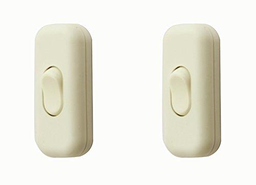SFTlite Zwischenschalter / [2 Pack] Weißer Inline Schalter Verwenden Sie Inline 2 oder 3 Core Schnur zwischenschalter, Leuchtenschalter Light/Lampe Schalter