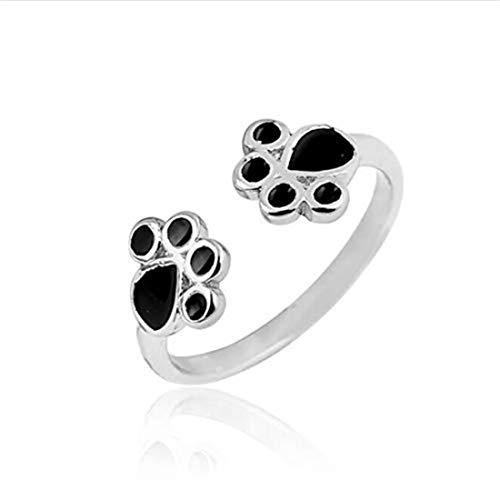 yichahu Anillo de plata con estampado de huellas de gato con forma de garra de perro, anillo para...