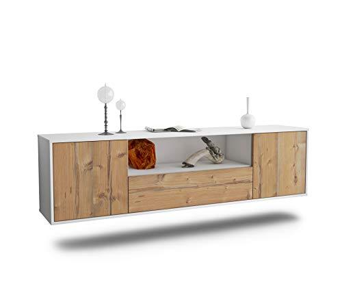 Dekati Lowboard Bakersfield hängend (180x49x35cm) Korpus Weiss matt | Front Holz-Design Pinie | Push-to-Open