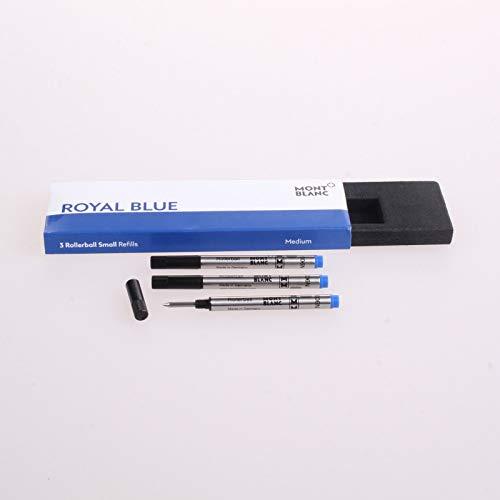 Montblanc - Recambios para bolígrafo de punta redonda (tamaño pequeño) Cantidad: 3 unidades. Fuerza: M (mediana). Color: azul real.
