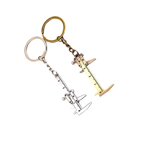 ULTECHNOVO 2 Stück Nonius Messschieber Schlüsselbund Miniatur Taschen Bremssattel Beweglicher Anhänger Schlüsselring Mikrometer Messzubehör