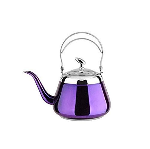 GJJSZ Edelstahl Wasserkocher,Wasserkocher,Kanne,Kaffeekanne,Waschbare Teekanne,Lila,1.2L