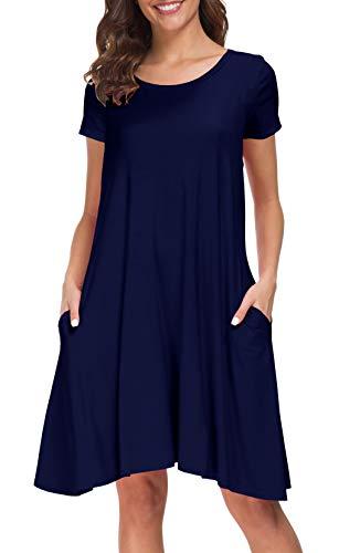 Afibi Women's Short Sleeve Pockets Loose Casual Swing T-Shirt Dresses (X-Large, Navy Blue)