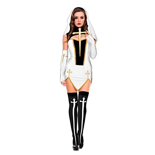 KIDsportxie Nun - Disfraz de Halloween para mujer, disfraz medieval, disfraz de hermana medieval