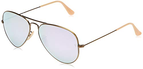 Ray-Ban Aviator Large Metal, Gafas de Sol Unisex Adulto, Multicolor (Demiglos Brushed Bronze & Lillac Mirrors Lens), 58