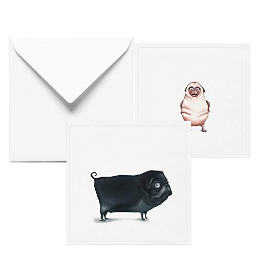 Glückwunschkarte zur Geburtstag | 2 Set Grußkarten mit Mops | Karte mit Hund | Geburtstagskarte lustig | Handmade in Hamburg aus 100% Recyclingpapier