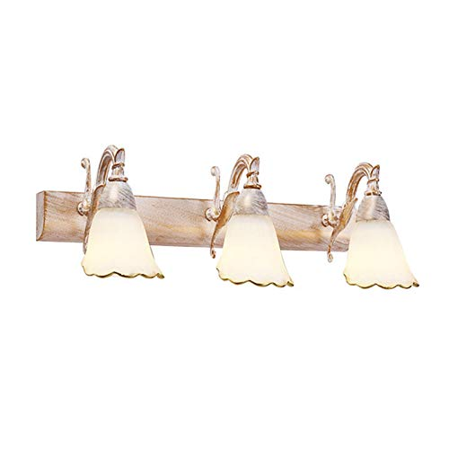 CCLLA Luces de Espejo de baño Vintage de 3 Luces, luz Delantera de Espejo LED con Pantalla de Cristal, Blanco cálido de 3000 K, Enchufe E14 * 3, Luces de Armario de Espejo para Restaurante de Hote