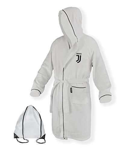 Tex Family Bademantel für Kinder Jungen Original Juve Juventus Mikro-Frottee in weiß schwarz mit Rucksack für den Pool–12–14Jahre