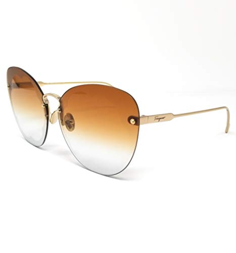 Ferragamo SF178S Fiore, Gafas de Sol de Metal Shiny Gold/Burnt Mint Unisex Adulto, Multicolor, Talla única