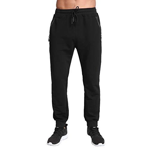 Tansozer Pantaloni Tuta Uomo Cotone Pantaloni Sportivi Uomo Running Jogging Fitness Pantalone Joggers Uomo Slim Fit Felpa Corsa Pantaloni Neri 2XL