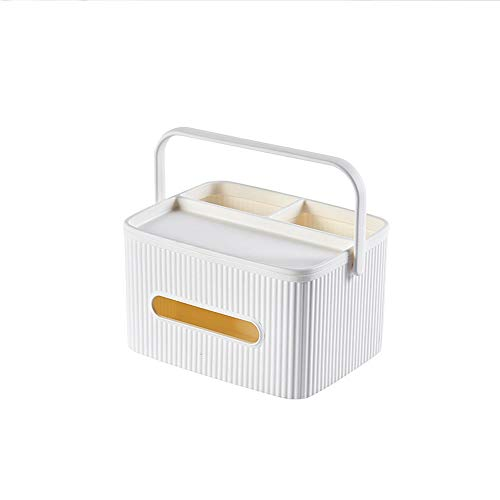Hogar Caja de pañuelos multifuncional, caja de almacenamiento de escritorio de doble capa, caja de pañuelos desmontable (color: blanco)