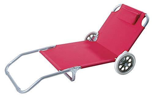 VERDELOOK Spiaggina Trolley Pieghevole con Ruote in Poliestere, Secondo disponibilità Colore Rosso o Blu, per Esterni e Giardino