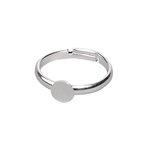 Rayher 2227221 Ringschiene m. Platte, 6 mm ø, SB-Btl 2 Stück, platin