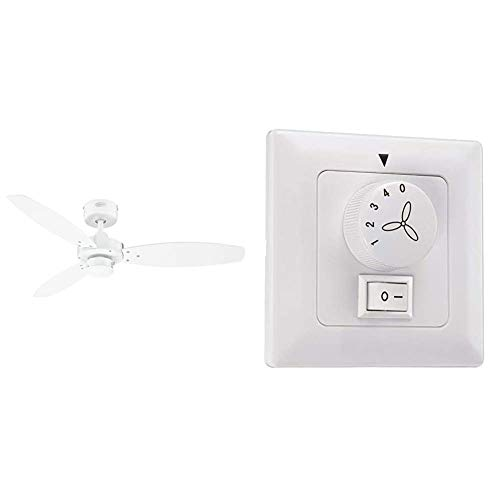 Westinghouse Lighting Jet II Ventilador de Techo, Blanco + Lighting Control de Pared para Ventilador y Luz, Blanco