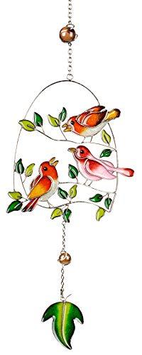 dekojohnson Moderner Fensterhänger Deko-Hänger Glasbild Fensterdeko Tiffany Art Vogel Orange Rosa Frühling Sommer 44cm