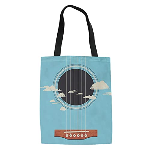 Howilath Bolsa de lino con estampado de perros cachorros, bolsa de hombro de animales divertidos, bolso de viaje colorido para mujeres, Guitar Blue Sky, Talla Unica