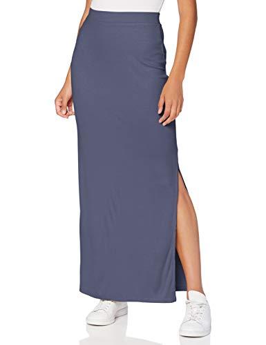 Amazon-Marke: MERAKI Damen Slim Fit Maxi-Rock mit Feinripp, Blau (Indigo), 42, Label: XL