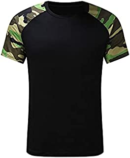 Wanxiaoyyyinnsdx Mens Henley Short Sleeve, Men's Summer TShirts Sports And Leisure Camouflage Stitching Short-sleeved T-sh...