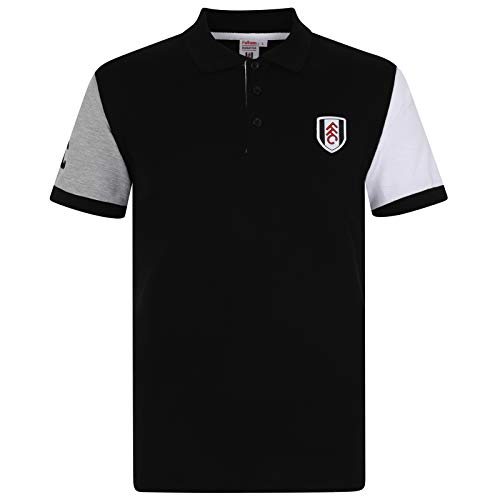 Fulham FC Official Football Gift Mens Contrast Sleeve Polo Shirt Black XXL