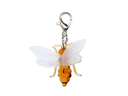 Miniblings Fliegende Ameise Biene Charm Tier Insekt Honig Flügeltier - Handmade Modeschmuck I Kettenanhänger versilbert - Bettelanhänger Bettelarmband - Anhänger für Armband