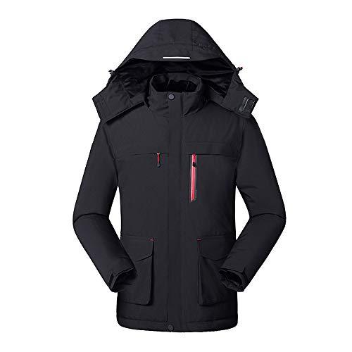 JAY-LONG Vestes Chauffantes pour Femmes/Manteaux d'hiver Légers en Duvet d'hiver/Manteaux Coupe-Vent À Capuche Coupe-Vent/Temp Ajustable sur 3 Niveaux, Lavable,Noir,L
