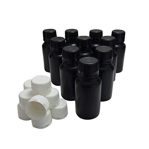 KENZIUM - Pack de 10 Botellas de Laboratorio + 10 Tapones Blancos + 10 Negros, para Muestras de 250 ml | de Cuello Ancho, de Plástico HDPE, Frascos Opacos, para Productos Fotosensibles