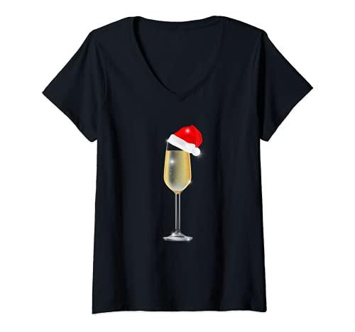 Mujer Copa de champán de Navidad con sombrero de Papá Noel para beber Camiseta Cuello V