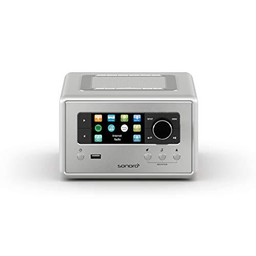 sonoro Relax Internetradio mit Bluetooth und USB (Sleep-Timer, FM, DAB Plus, WLAN, MP3, Spotify, Amazon, Deezer, Meditation) Design Radiowecker Silber
