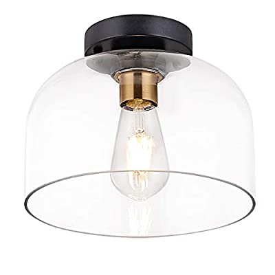 Industrial Flush Mount Light Fixture, Matte Black Finish,Brass Accent Socket,Ceiling Light Fixture with Clear Glass for Entryway,Hallway,Dining Room, Bedroom, Kichen, Living Room