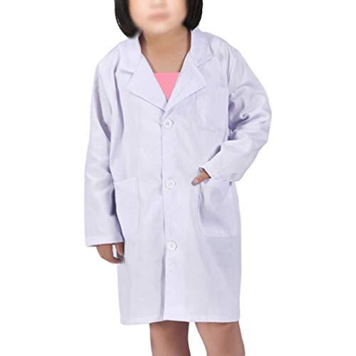 Kids Lab Coat for Unisex Kid Scientists Role Play Costume Halloween Pretent Dress-up Set(L/6-8T, White)