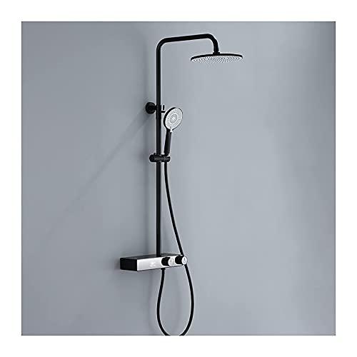 Dpliu Sistema de Ducha con bañera Sistema de Cabezal de Ducha de Lluvia Redondo con Conjunto de Combo de Mano, Conjunto de grifos de Ducha montado en Pared con Pantalla de Temperatura (Color : Black)