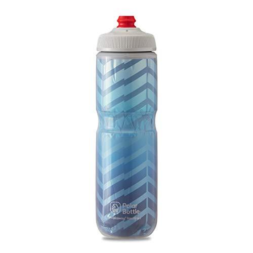 Polar Bottle Breakaway Insulated Bike Water Bottle - BPA Free, Cycling & Sports Squeeze Bottle (Bolt - Blue & Silver, 24 oz) (INB24OZ06)