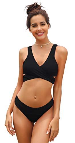 SHEKINI Women's Criss Cross Bikini Push-up Halter Bandage Swimsuits Wrap Suits (X-Large/(US 16-18), Manhattan Black)