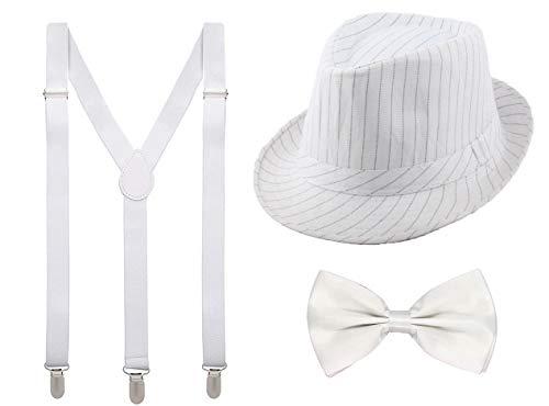 Juego 3 de Tirantes Elásticos Pajaritas Ajustables y Sombrero de Copa Accesorios 1920 para Fiesta Carnaval (Blanco, Pack adulto/sombrero 56cm)