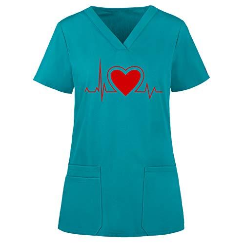 Dasongff Schlupfkasack EKG-Muster V-Ausschnitt Top Berufskleidung Damen Kasack Schlupfkasack Kurzarm für Krankenschwester, Zahnarzt, Ärzte, Dienstmädchen, Studenten, Tiermediziner