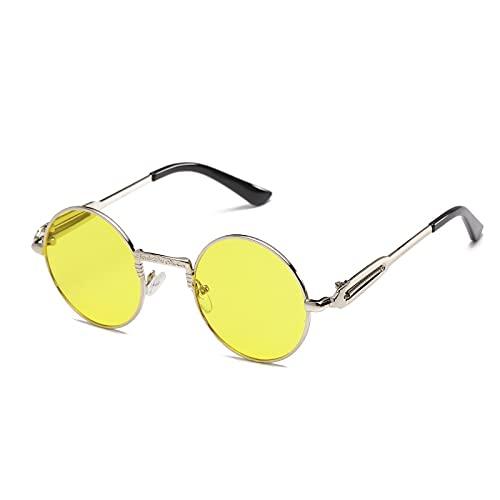 NIUBKLAS Gafas de sol redondas retro para hombre con montura metálica para mujer
