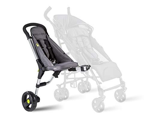 Buggypod io 4. Generation – umrüstbarer Beiwagen für Kinder- und Sportwagen, passt an die meisten Kinderwagen. Anthrazit.