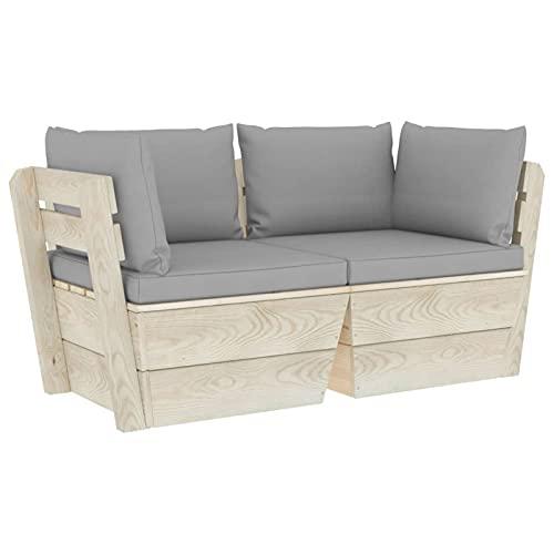Tidyard Conjuntos Sofa Exterior Patio Sofá de palets de jardín 1# 2 plazas con Cojines Madera de Abeto