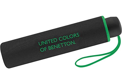 Paraguas Mini Mujer Manual United Colors of Benetton, Ocho Varillas, 95 cm de diámetro. Color Negro.